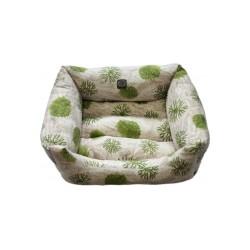 Cuna Acolchada estampada verde para perros y gatos