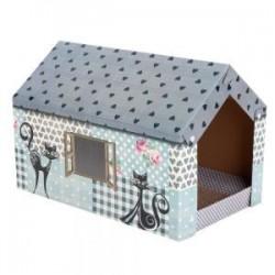 Rascador de cartón para gatitos y gatos XL tejado gris