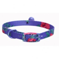 Collar para gatos estampado azul con cascabel