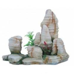 Decoración Roca con plantas para terrario