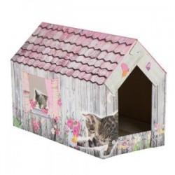 Rascador de cartón para gatitos y gatos mediano tejado rosa
