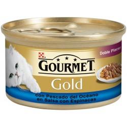 Gourmet Gold Doble Placer con pescado del oceáno con espinacas