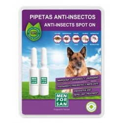 Pipeta anti-insectos para perros con margosa, geraniol y lavandino menforsan